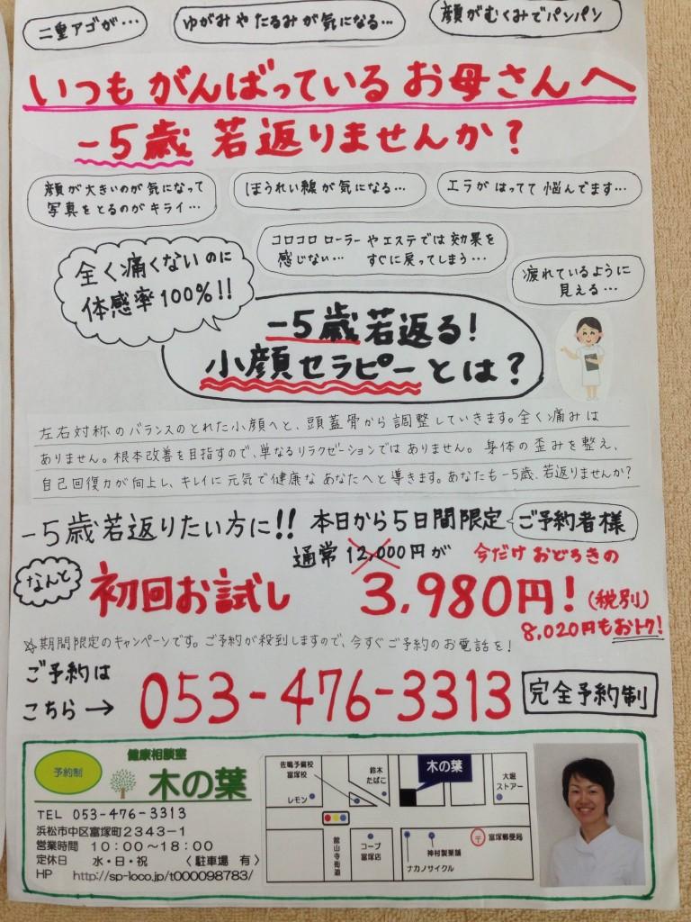 太田様 (小顔セラピーサロン) 添削前 表